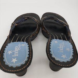 Clarks Shoes - Indigo By Clarks Black Leather Heel Platform Slide